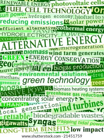 Background editable vector illustration of green headlines about alternative energy