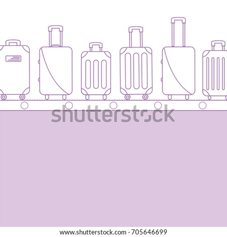 background flat design style. ready to  flight icons. light purple line or outline luggage bag. contour simple suitcase set print on conveyor belt. Baggage claim at terminal airport vector travel bags