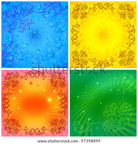 Background floral colorful set. Abstract flower pattern design, eps10, contains transparencies. Vector
