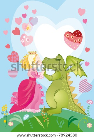 Background for a romantic letter with the kissed princess and dragon