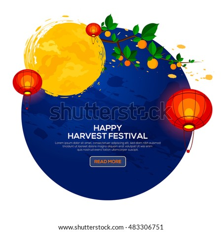 Background for Asian Harvest Mid Autumn Festival with persimmon tree and lantern.