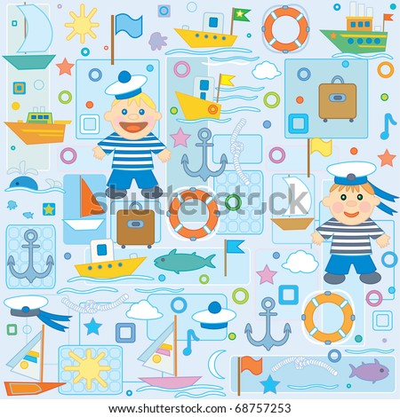 Background  for baby boy scrapbook, small sailor