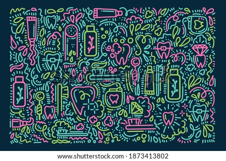 Background for brushing teeth in Doodle style. Cartoon linear poster Toothbrush, toothpaste and dental floss, teeth. Hand-drawn Doodle pattern in morning hygiene, the concept of care for the oral Photo stock ©