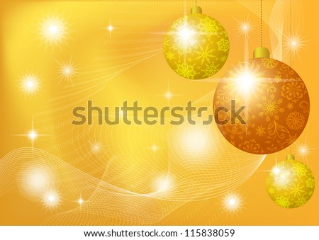 Background for Christmas holiday design: stars and balls with floral pattern and snowflakes. Eps10, contains transparencies. Vector