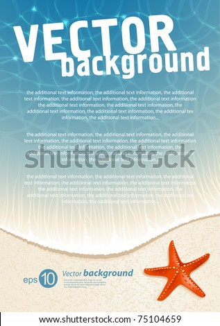 Background for design on sea subjects with a beach