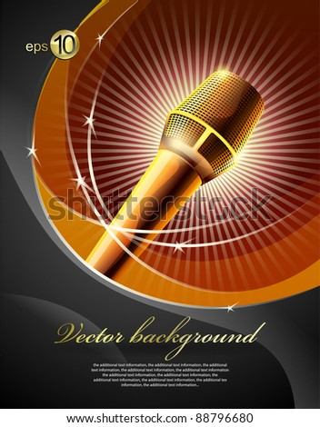 Background for design with a microphone and concert light