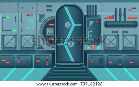 Background for games and mobile applications spaceship.