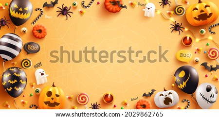 Background for Halloween with Halloween Ghost Balloons and Pumpkin.Scary air balloons,bat,candy and Halloween Elements on yellow background.Website spooky,Background or banner Halloween template