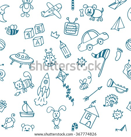 Background for little boys. Hand drawn children drawings color seamless pattern. Doodle children drawing background. Vector illustration