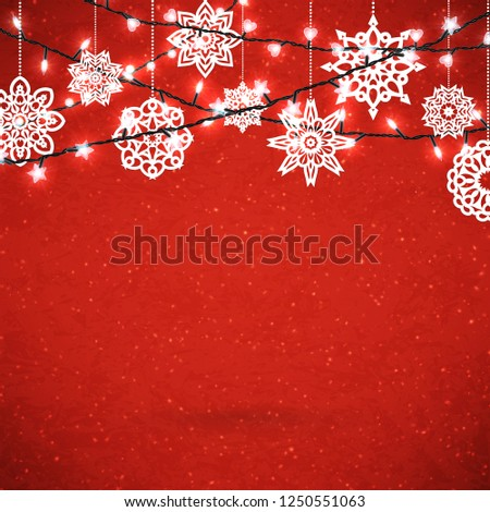 Background for Merry Christmas poster with paper snowflakes and glittering garland. Vector illustration.