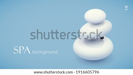Background for spa salon. White spa stones on a light background. Template for invitation, advertisement for beauty salon, yoga center or spa salon. Stock photo ©