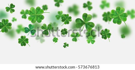 Background for St. Patrick's. Vector illustration for design with clover. Clover 3D isolated on white background. Irish symbols of the holiday. There is room for text.