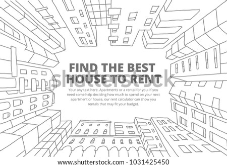 Background for text on the rental of real estate sketch. Apartment house in a circle frame. Hand drawn black line. Flat vector illustration stock clipart