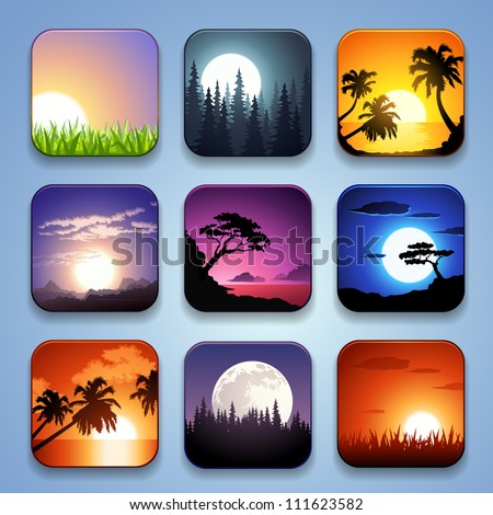 background for the app icons-Summer landscape set