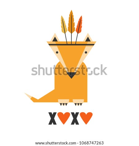 background  fox with feathers