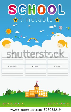 background frame design of School Timetable, Schedule,Weekly school timetable vector illustration