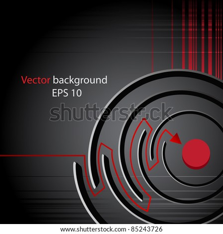 Background from a labyrinth with a red arrow, a success symbol