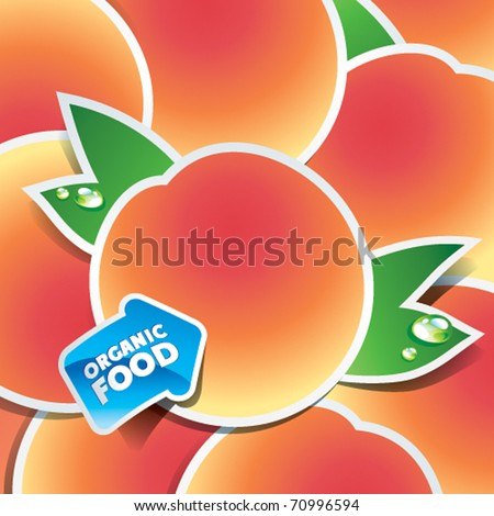 Background from apricots with an arrow by organic food. Vector illustration.