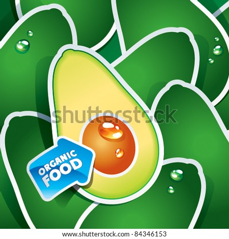 Background from avocado with the arrow by organic food. Vector illustration.