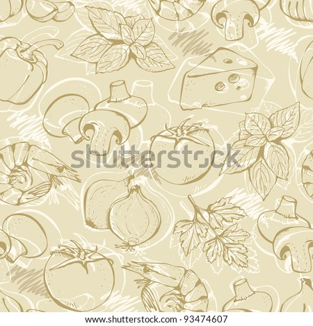 Background from hand-drawn pizza ingredients on a beige