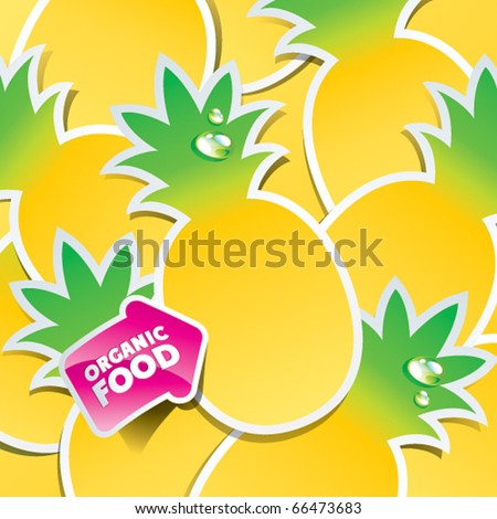 Background from pineapple with an arrow by organic food. Vector illustration. - stock vector