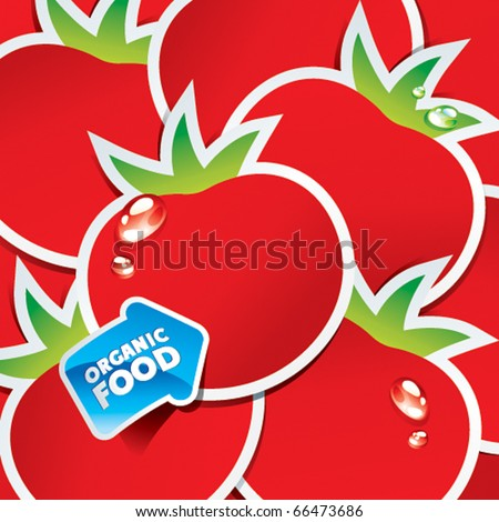 Background from tomatoes with an arrow by organic food. Vector illustration. - stock vector