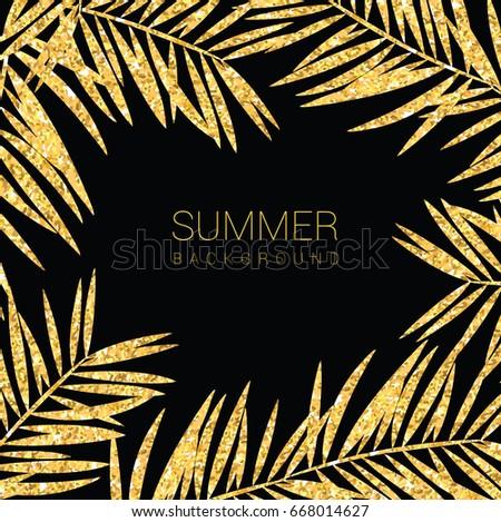 Background glitter gold palm tree , banner voucher, spring summer tropical, vector illustration