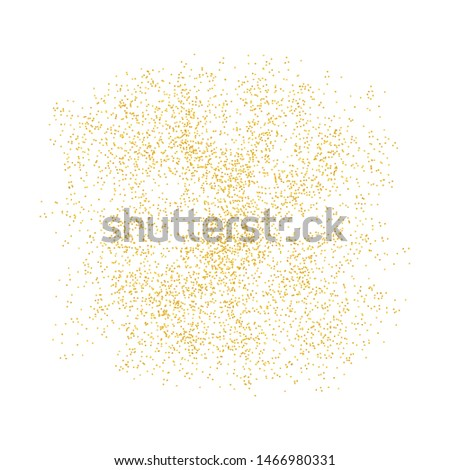 Background Golden texture crumbs. Gold dust scattering on a white background. Particles grain or sand assembled. Vector backdrop shards, pieces abstraction. Illustration grunge textures for design.