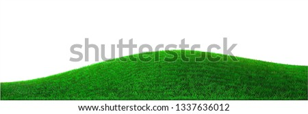 Background green hills vector. Realistic eco natural landscape. Lawn grass and plants #1337636012