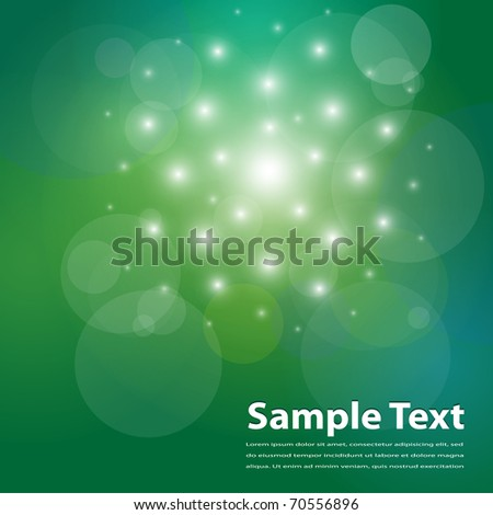 Background green with abstract exploding lights, vector.