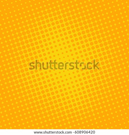 Background halftone circle vector. Orange dots on yellow background. Halftone Effect. comic book retro print.