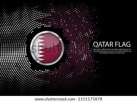 Background Halftone gradient template or LED neon Light on round Dots style of Qatar flag.  Modern soccer cup for futuristic background with circle metallic round of Qatar flag. Vector.