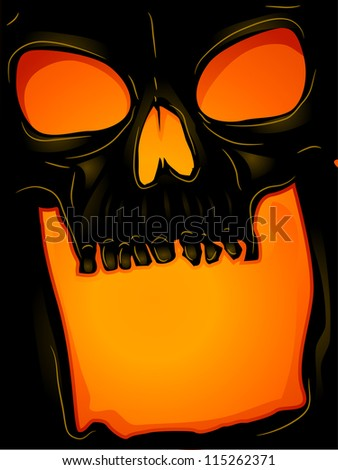 Background Halloween Featuring a Skull with its Mouth Wide Open - stock vector