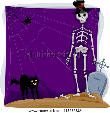 Background Halloween Illustration Featuring a Skeleton and a Black Cat