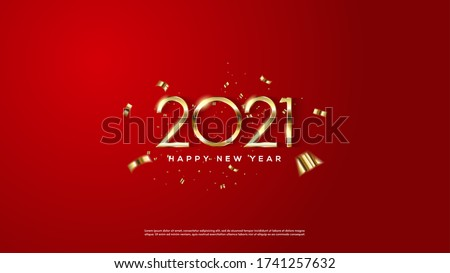 Background 2021 happy new year golden color on a red background.