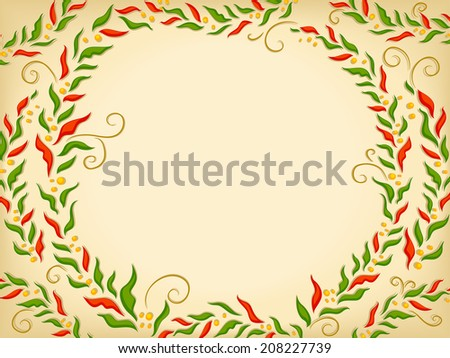 Background Illustration Featuring Poinsettias Arranged in a Circle
