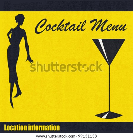 Background illustration for a cocktail bar menu with a 1950's feel