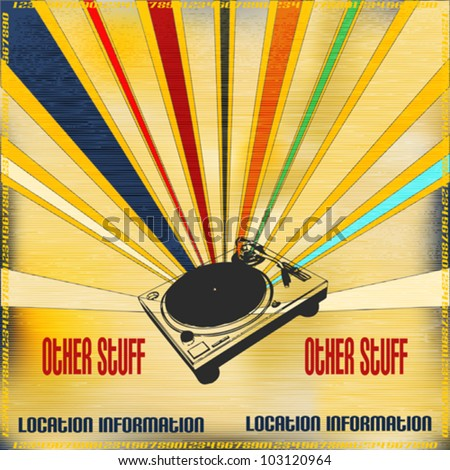 Background illustration in a faded retro style for a DJ set Poster - stock vector