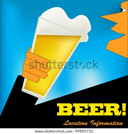 Background illustration in an Art Deco style with a man drinking a glass of beer