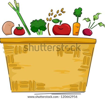 Background Illustration of a Basket of Fruits and Vegetables