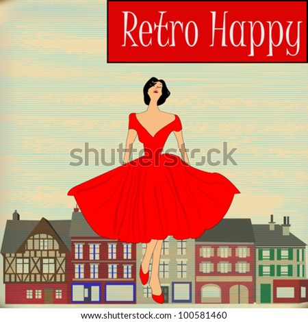 Background illustration of a Girl  in red 1950's style dress in front a traditional high street