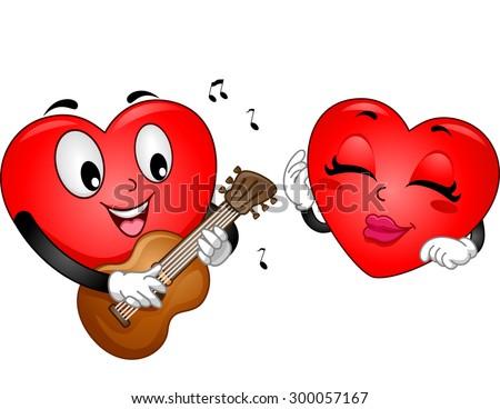 stock-vector-background-illustration-of-a-heart-mascot-serenading-a-female-heart-mascot