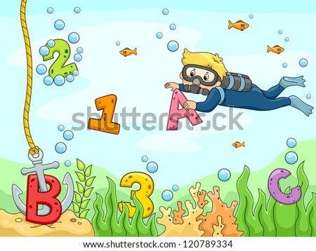 Background Illustration of A Kid Scubadiver searching for letters and numbers underwater