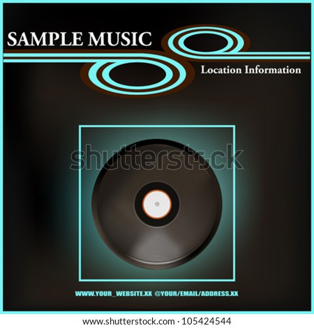Background illustration of a vintage gramophone record in a modern setting for a Music Poster or Cover