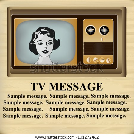 Background illustration of a vintage television with a young woman's head on a paper texture