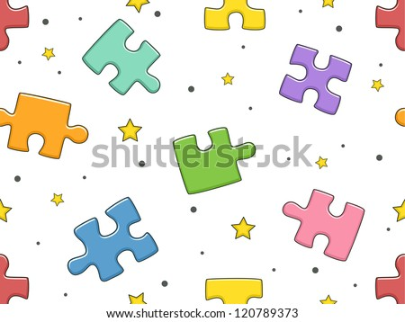 Background Illustration of Jigsaw Puzzle Pieces - stock vector