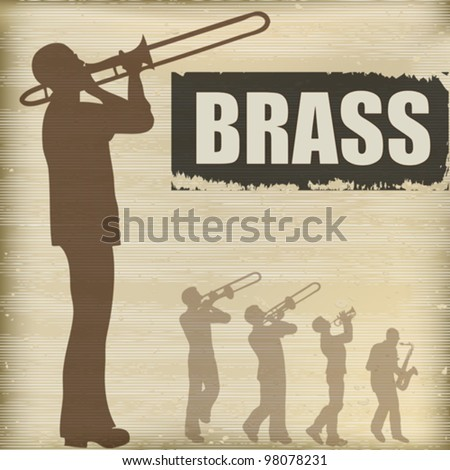 Background illustration with a band of brass playing musicians