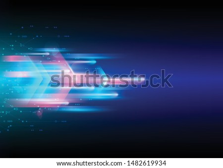 Background image of connection technology and high speed movement. Blue abstract background. Vector template for design.