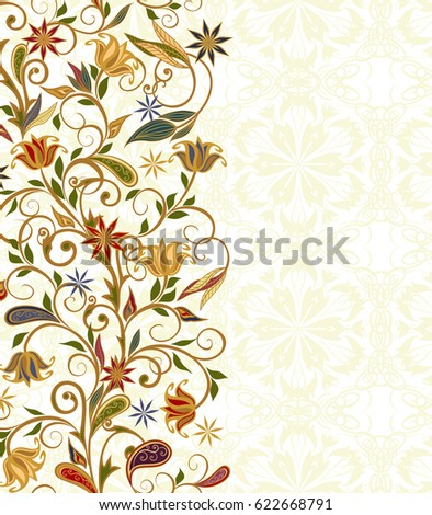 Background in ethnic traditional style. Abstract vintage pattern with decorative flowers, leaves and Paisley pattern in Oriental style.