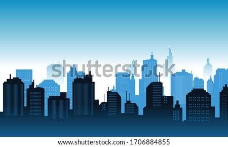 Background in the downtown with blue sky